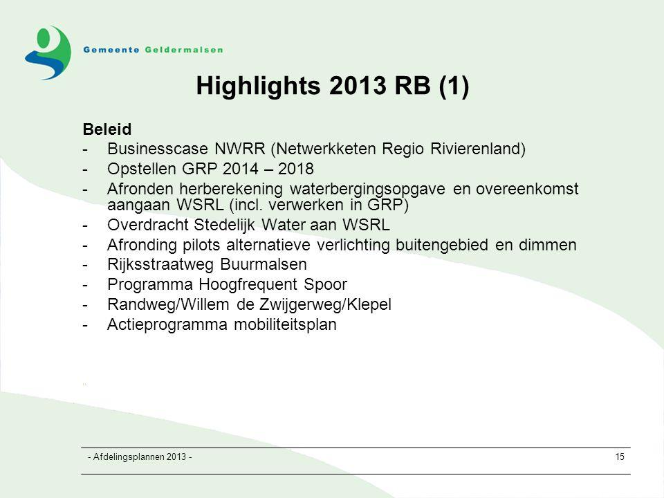 - Afdelingsplannen 2013 -15 Highlights 2013 RB (1) Beleid -Businesscase NWRR (Netwerkketen Regio Rivierenland) -Opstellen GRP 2014 – 2018 -Afronden herberekening waterbergingsopgave en overeenkomst aangaan WSRL (incl.