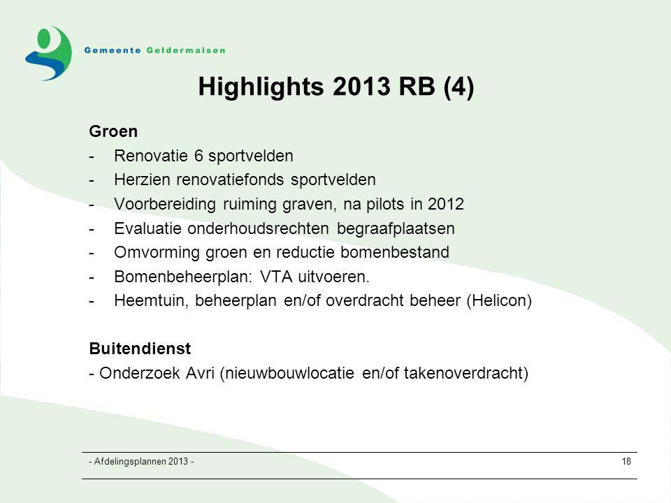 - Afdelingsplannen 2013 -18 Highlights 2013 RB (4) Groen -Renovatie 6 sportvelden -Herzien renovatiefonds sportvelden -Voorbereiding ruiming graven, na pilots in 2012 -Evaluatie onderhoudsrechten begraafplaatsen -Omvorming groen en reductie bomenbestand -Bomenbeheerplan: VTA uitvoeren.