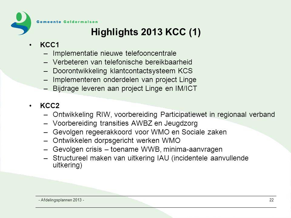 - Afdelingsplannen 2013 -22 Highlights 2013 KCC (1) KCC1 –Implementatie nieuwe telefooncentrale –Verbeteren van telefonische bereikbaarheid –Doorontwikkeling klantcontactsysteem KCS –Implementeren onderdelen van project Linge –Bijdrage leveren aan project Linge en IM/ICT KCC2 –Ontwikkeling RIW, voorbereiding Participatiewet in regionaal verband –Voorbereiding transities AWBZ en Jeugdzorg –Gevolgen regeerakkoord voor WMO en Sociale zaken –Ontwikkelen dorpsgericht werken WMO –Gevolgen crisis – toename WWB, minima-aanvragen –Structureel maken van uitkering IAU (incidentele aanvullende uitkering)