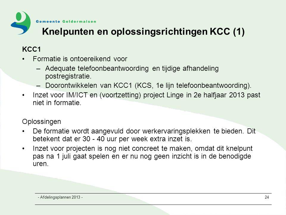 - Afdelingsplannen 2013 -24 Knelpunten en oplossingsrichtingen KCC (1) KCC1 Formatie is ontoereikend voor –Adequate telefoonbeantwoording en tijdige afhandeling postregistratie.