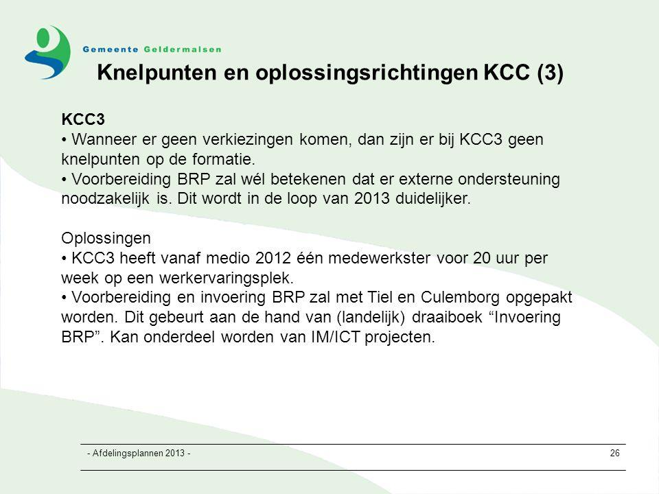 - Afdelingsplannen 2013 -26 KCC3 Wanneer er geen verkiezingen komen, dan zijn er bij KCC3 geen knelpunten op de formatie.