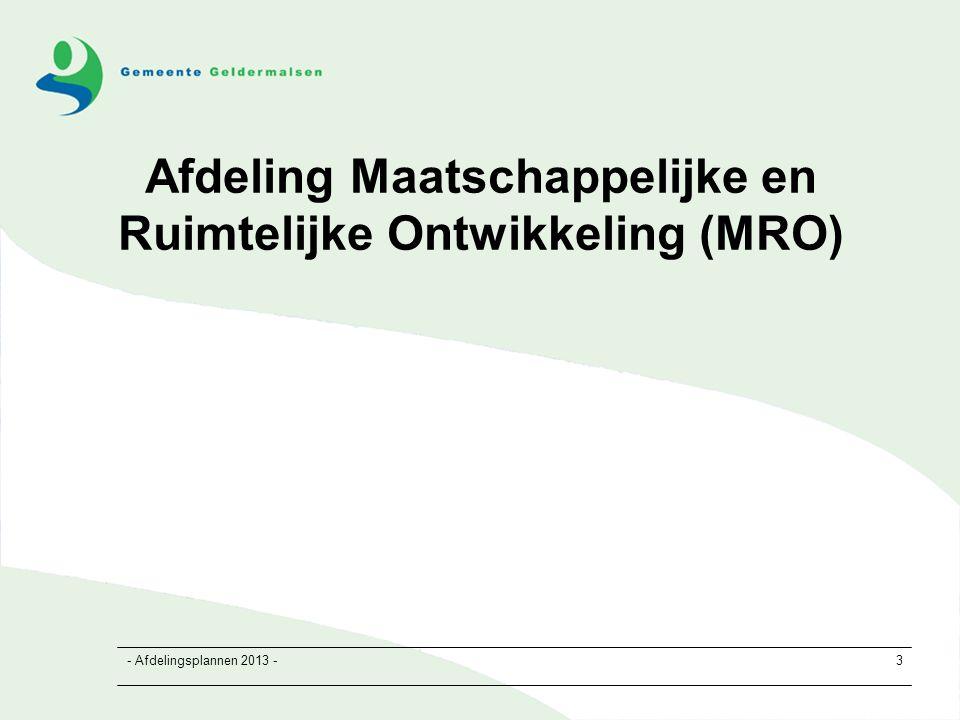 - Afdelingsplannen 2013 -3 Afdeling Maatschappelijke en Ruimtelijke Ontwikkeling (MRO)