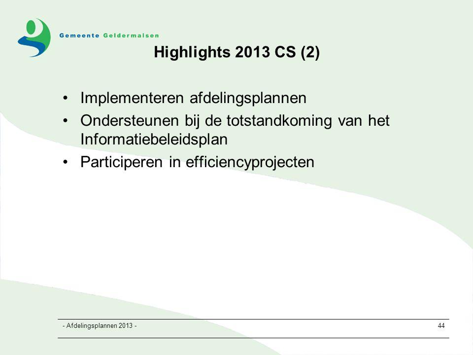 - Afdelingsplannen 2013 -44 Highlights 2013 CS (2) Implementeren afdelingsplannen Ondersteunen bij de totstandkoming van het Informatiebeleidsplan Participeren in efficiencyprojecten