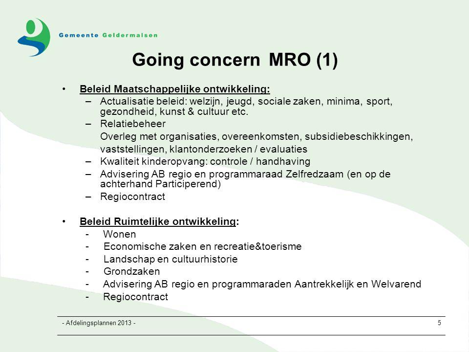 - Afdelingsplannen 2013 -6 Going concern MRO (2) Team MRO Ontwikkeling: -Bestemmingsplannen in brede zin -Milieu -Projecten en grondexploitaties -Huisvesting onderwijs, verenigingsgebouwen / dorpshuizen, speelplekvoorzieningen -Going concern Ongeveer 60 a 70% van de capaciteit van de afdeling