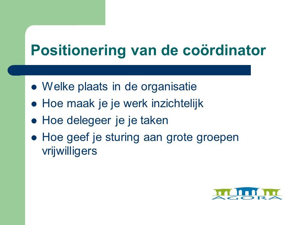 Positionering van de coördinator Welke plaats in de organisatie Hoe maak je je werk inzichtelijk Hoe delegeer je je taken Hoe geef je sturing aan grote groepen vrijwilligers