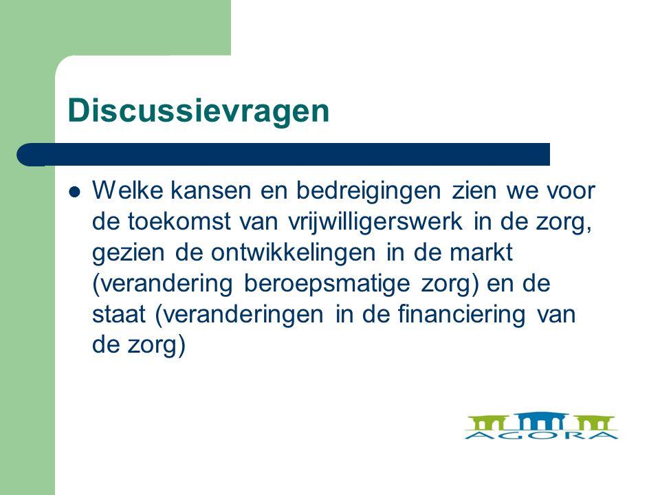 Discussievragen Welke kansen en bedreigingen zien we voor de toekomst van vrijwilligerswerk in de zorg, gezien de ontwikkelingen in de markt (verandering beroepsmatige zorg) en de staat (veranderingen in de financiering van de zorg)