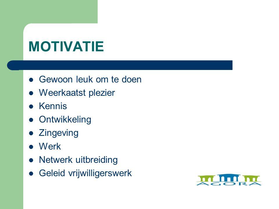 MOTIVATIE Gewoon leuk om te doen Weerkaatst plezier Kennis Ontwikkeling Zingeving Werk Netwerk uitbreiding Geleid vrijwilligerswerk