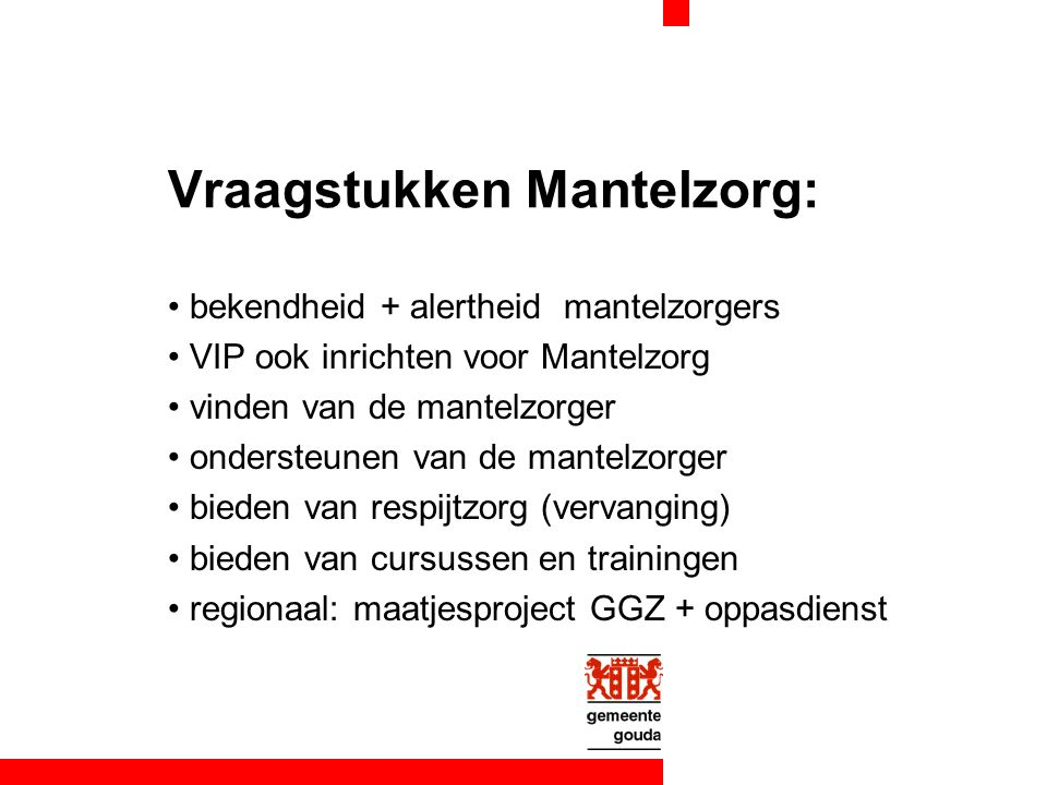 Vraagstukken Mantelzorg: bekendheid + alertheid mantelzorgers VIP ook inrichten voor Mantelzorg vinden van de mantelzorger ondersteunen van de mantelzorger bieden van respijtzorg (vervanging) bieden van cursussen en trainingen regionaal: maatjesproject GGZ + oppasdienst