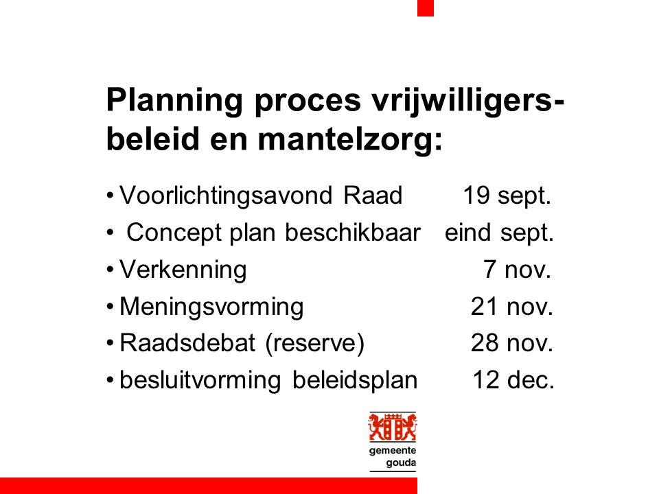 Planning proces vrijwilligers- beleid en mantelzorg: Voorlichtingsavond Raad 19 sept. Concept plan beschikbaar eind sept. Verkenning 7 nov. Meningsvor