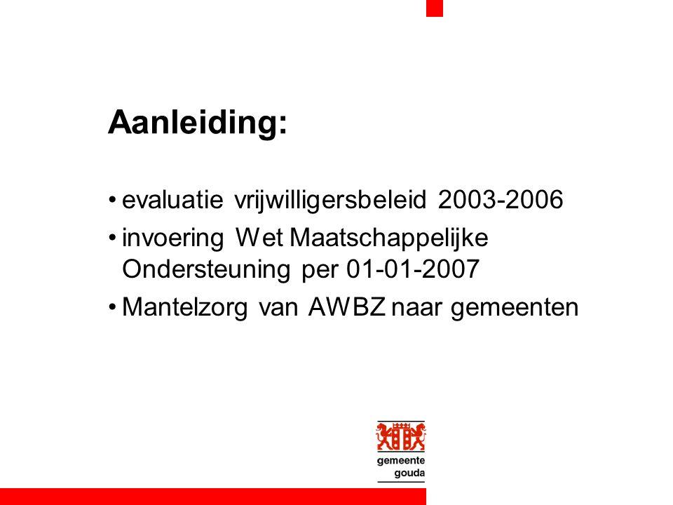 Aanleiding: evaluatie vrijwilligersbeleid 2003-2006 invoering Wet Maatschappelijke Ondersteuning per 01-01-2007 Mantelzorg van AWBZ naar gemeenten
