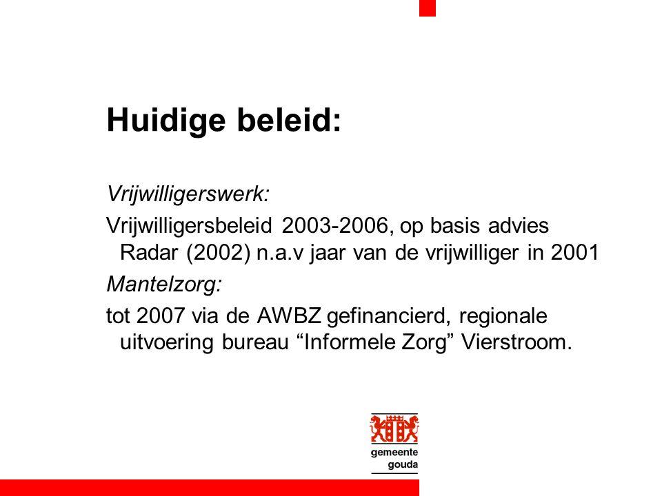 Huidige beleid: Vrijwilligerswerk: Vrijwilligersbeleid 2003-2006, op basis advies Radar (2002) n.a.v jaar van de vrijwilliger in 2001 Mantelzorg: tot 2007 via de AWBZ gefinancierd, regionale uitvoering bureau Informele Zorg Vierstroom.