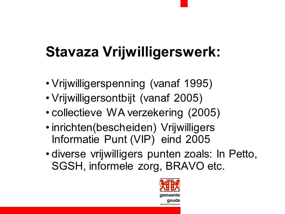 Stavaza Vrijwilligerswerk: Vrijwilligerspenning (vanaf 1995) Vrijwilligersontbijt (vanaf 2005) collectieve WA verzekering (2005) inrichten(bescheiden) Vrijwilligers Informatie Punt (VIP) eind 2005 diverse vrijwilligers punten zoals: In Petto, SGSH, informele zorg, BRAVO etc.