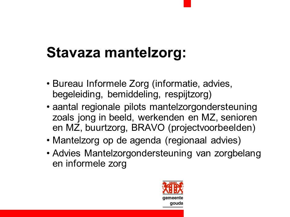 Stavaza mantelzorg: Bureau Informele Zorg (informatie, advies, begeleiding, bemiddeling, respijtzorg) aantal regionale pilots mantelzorgondersteuning