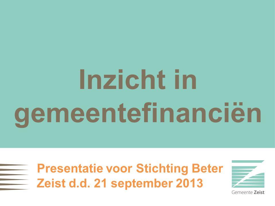 Inzicht in gemeentefinanciën Presentatie voor Stichting Beter Zeist d.d. 21 september 2013