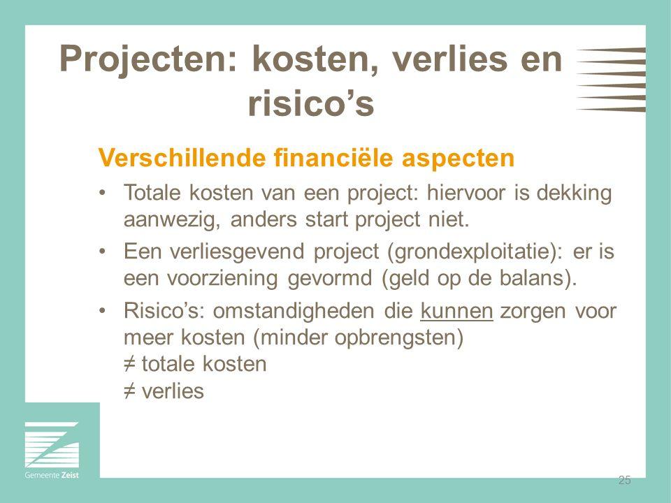25 Projecten: kosten, verlies en risico's Verschillende financiële aspecten Totale kosten van een project: hiervoor is dekking aanwezig, anders start