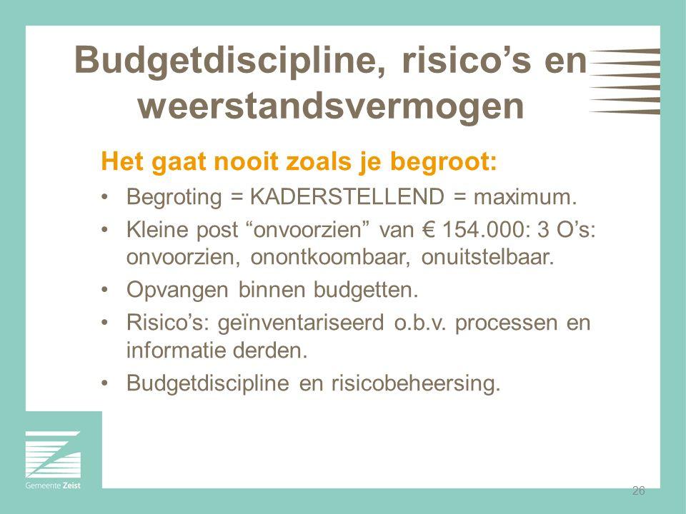 """26 Budgetdiscipline, risico's en weerstandsvermogen Het gaat nooit zoals je begroot: Begroting = KADERSTELLEND = maximum. Kleine post """"onvoorzien"""" van"""