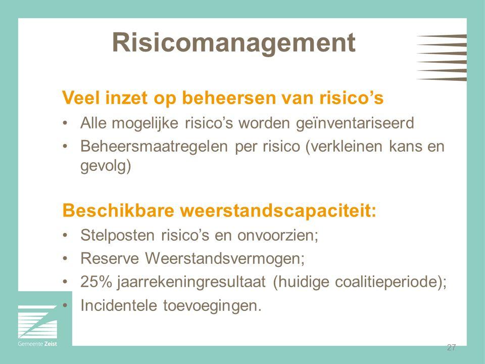 27 Risicomanagement Veel inzet op beheersen van risico's Alle mogelijke risico's worden geïnventariseerd Beheersmaatregelen per risico (verkleinen kan