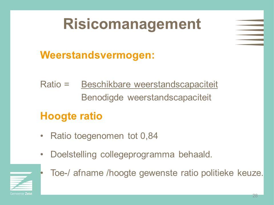 28 Risicomanagement Weerstandsvermogen: Ratio = Beschikbare weerstandscapaciteit Benodigde weerstandscapaciteit Hoogte ratio Ratio toegenomen tot 0,84