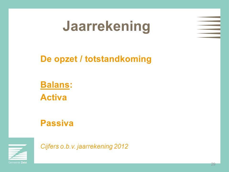 29 Jaarrekening De opzet / totstandkoming Balans: Activa Passiva Cijfers o.b.v. jaarrekening 2012