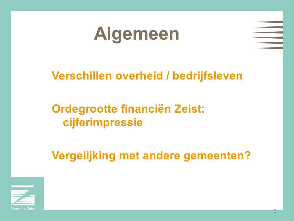 3 Algemeen Verschillen overheid / bedrijfsleven Ordegrootte financiën Zeist: cijferimpressie Vergelijking met andere gemeenten?