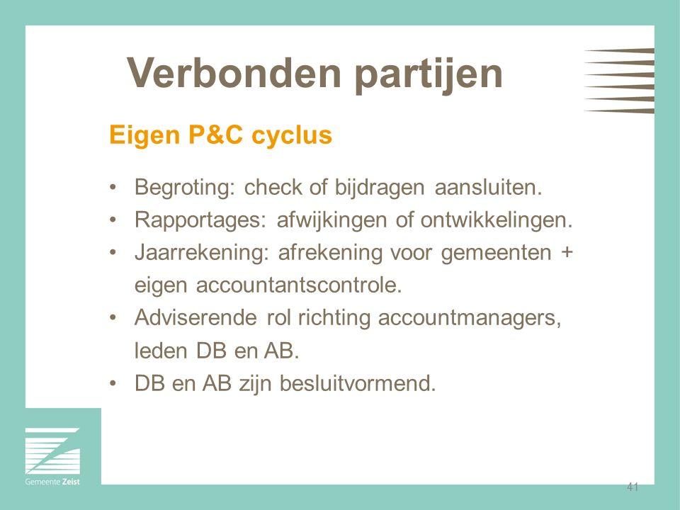 41 Verbonden partijen Eigen P&C cyclus Begroting: check of bijdragen aansluiten. Rapportages: afwijkingen of ontwikkelingen. Jaarrekening: afrekening
