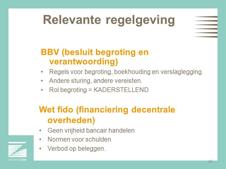 45 Relevante regelgeving BBV (besluit begroting en verantwoording) Regels voor begroting, boekhouding en verslaglegging. Andere sturing, andere vereis
