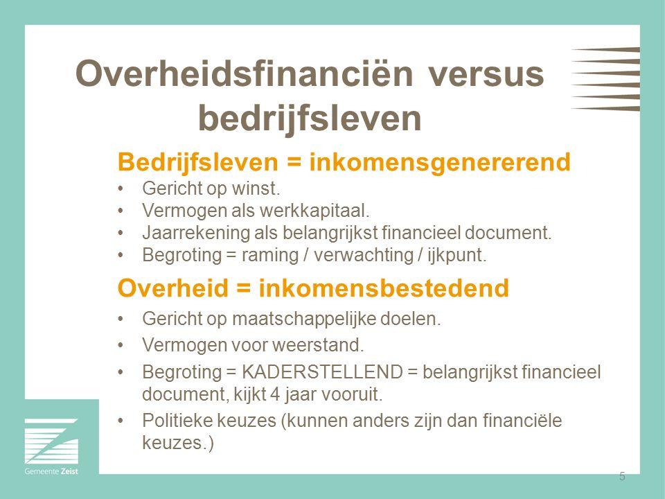 5 Overheidsfinanciën versus bedrijfsleven Bedrijfsleven = inkomensgenererend Gericht op winst. Vermogen als werkkapitaal. Jaarrekening als belangrijks