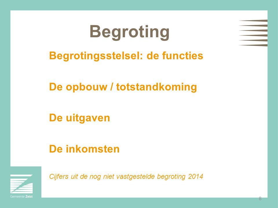 8 Begroting Begrotingsstelsel: de functies De opbouw / totstandkoming De uitgaven De inkomsten Cijfers uit de nog niet vastgestelde begroting 2014