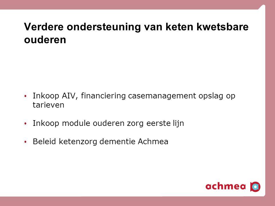 Verdere ondersteuning van keten kwetsbare ouderen Inkoop AIV, financiering casemanagement opslag op tarieven Inkoop module ouderen zorg eerste lijn Be