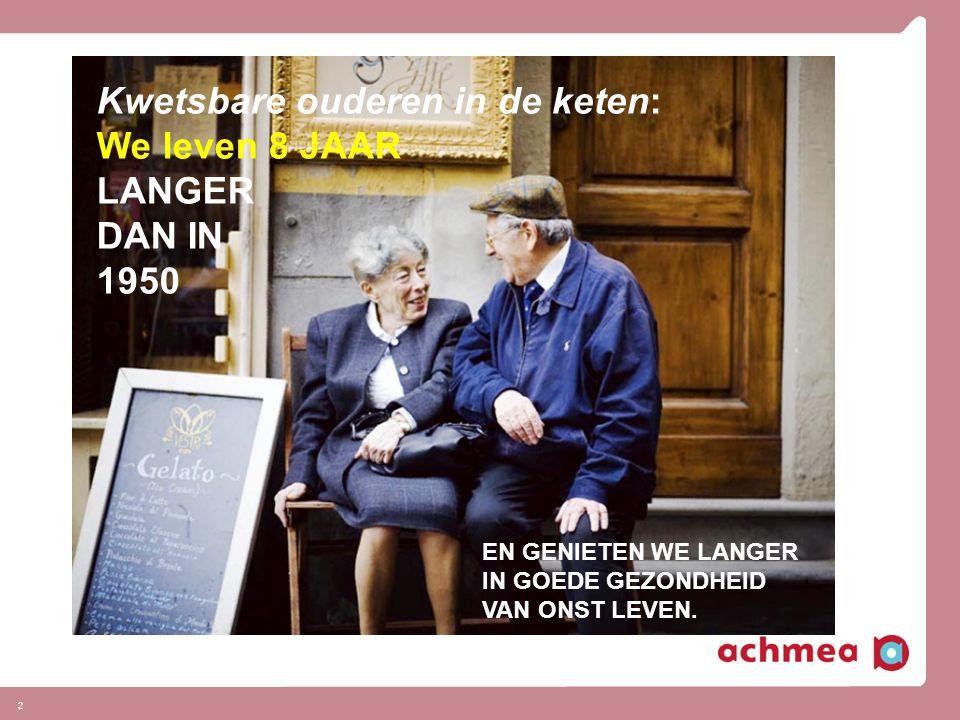 2 Kwetsbare ouderen in de keten: We leven 8 JAAR LANGER DAN IN 1950 EN GENIETEN WE LANGER IN GOEDE GEZONDHEID VAN ONST LEVEN.