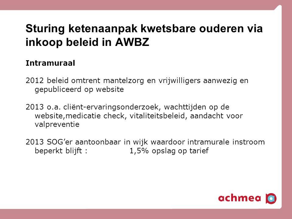 Sturing ketenaanpak kwetsbare ouderen via inkoop beleid in AWBZ Intramuraal 2012 beleid omtrent mantelzorg en vrijwilligers aanwezig en gepubliceerd op website 2013 o.a.