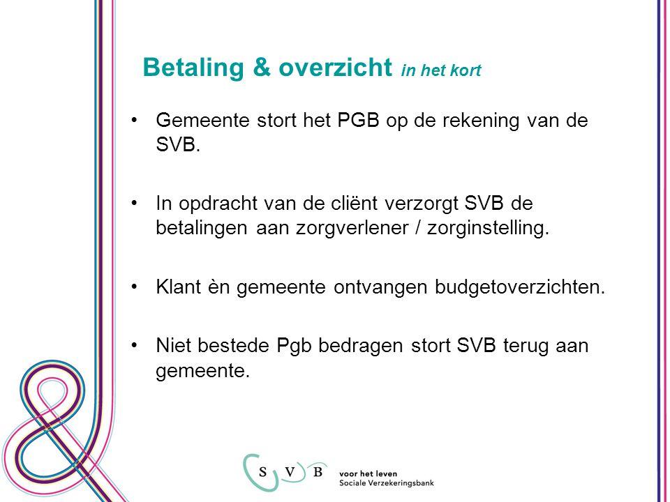 Betaling & overzicht in het kort Gemeente stort het PGB op de rekening van de SVB.