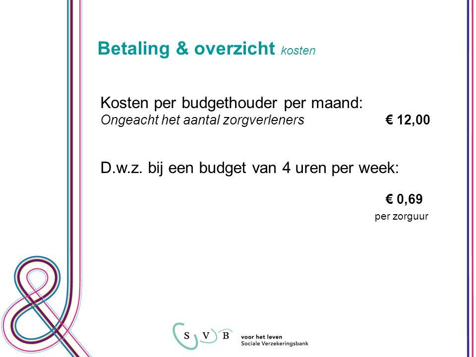 Betaling & overzicht kosten Kosten per budgethouder per maand: Ongeacht het aantal zorgverleners€ 12,00 D.w.z.