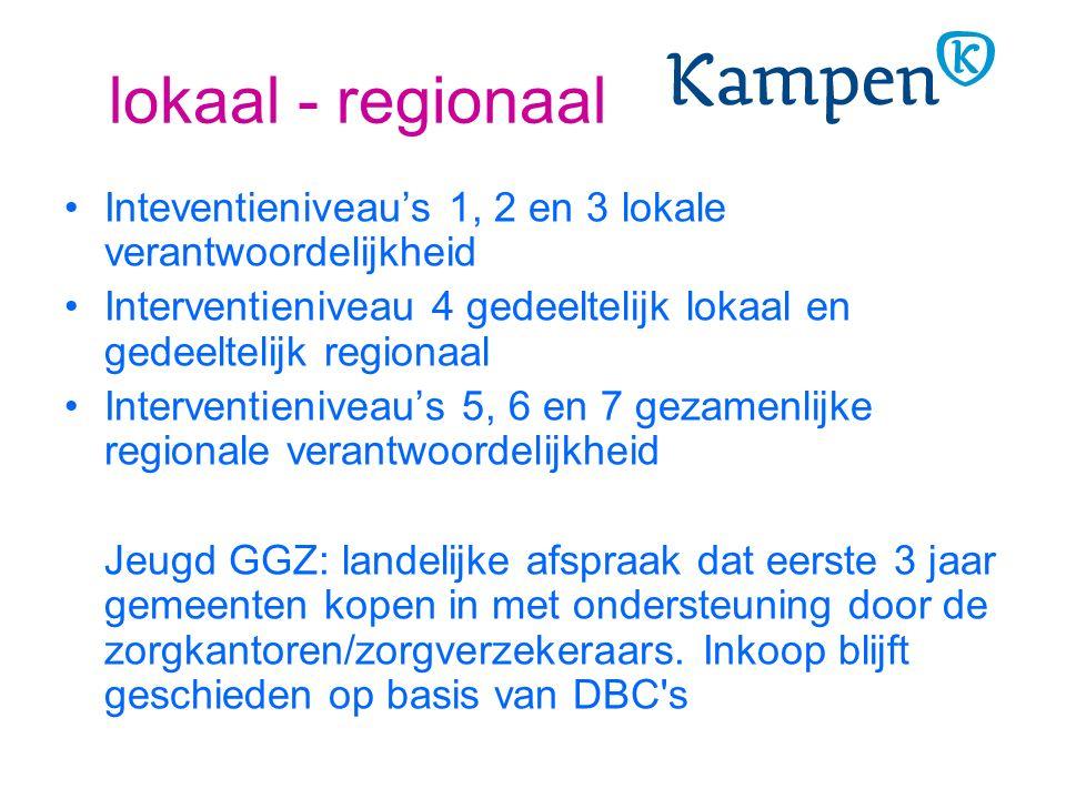 lokaal - regionaal Inteventieniveau's 1, 2 en 3 lokale verantwoordelijkheid Interventieniveau 4 gedeeltelijk lokaal en gedeeltelijk regionaal Interven