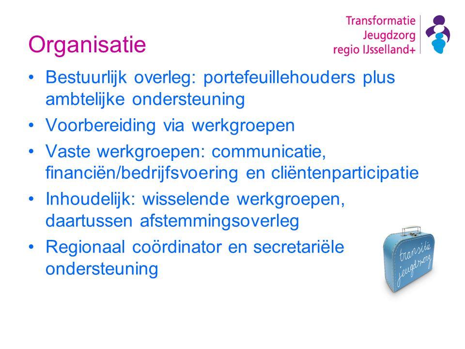 Organisatie Bestuurlijk overleg: portefeuillehouders plus ambtelijke ondersteuning Voorbereiding via werkgroepen Vaste werkgroepen: communicatie, fina
