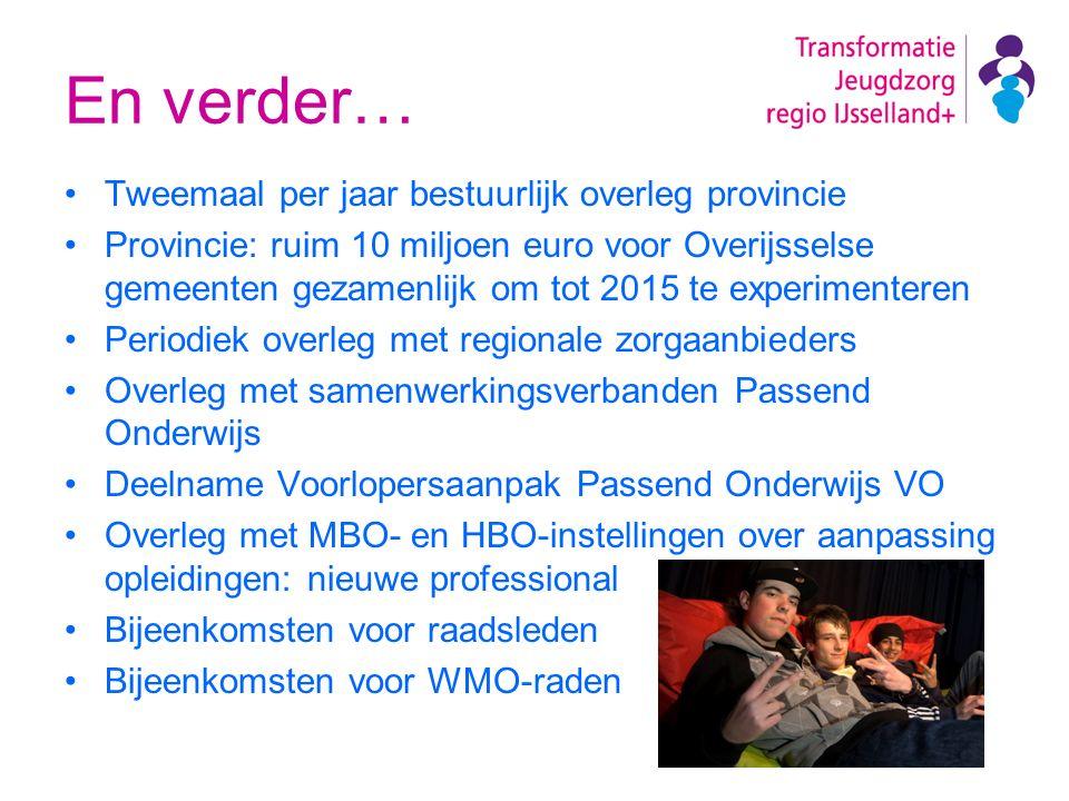 En verder… Tweemaal per jaar bestuurlijk overleg provincie Provincie: ruim 10 miljoen euro voor Overijsselse gemeenten gezamenlijk om tot 2015 te expe