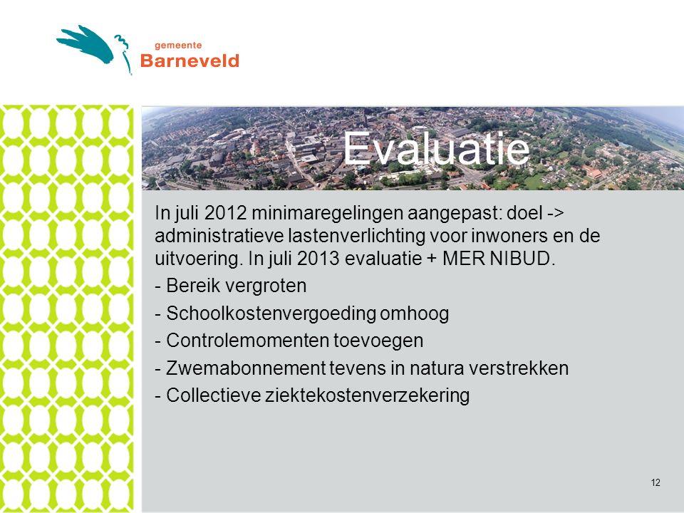 In juli 2012 minimaregelingen aangepast: doel -> administratieve lastenverlichting voor inwoners en de uitvoering.