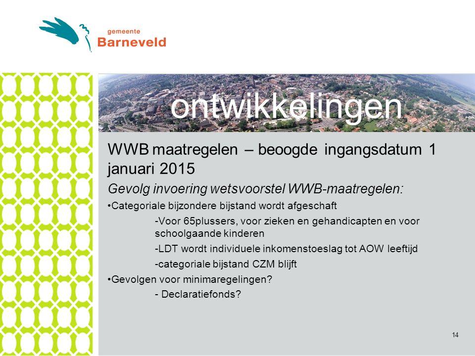 ontwikkelingen WWB maatregelen – beoogde ingangsdatum 1 januari 2015 Gevolg invoering wetsvoorstel WWB-maatregelen: Categoriale bijzondere bijstand wordt afgeschaft -Voor 65plussers, voor zieken en gehandicapten en voor schoolgaande kinderen -LDT wordt individuele inkomenstoeslag tot AOW leeftijd -categoriale bijstand CZM blijft Gevolgen voor minimaregelingen.