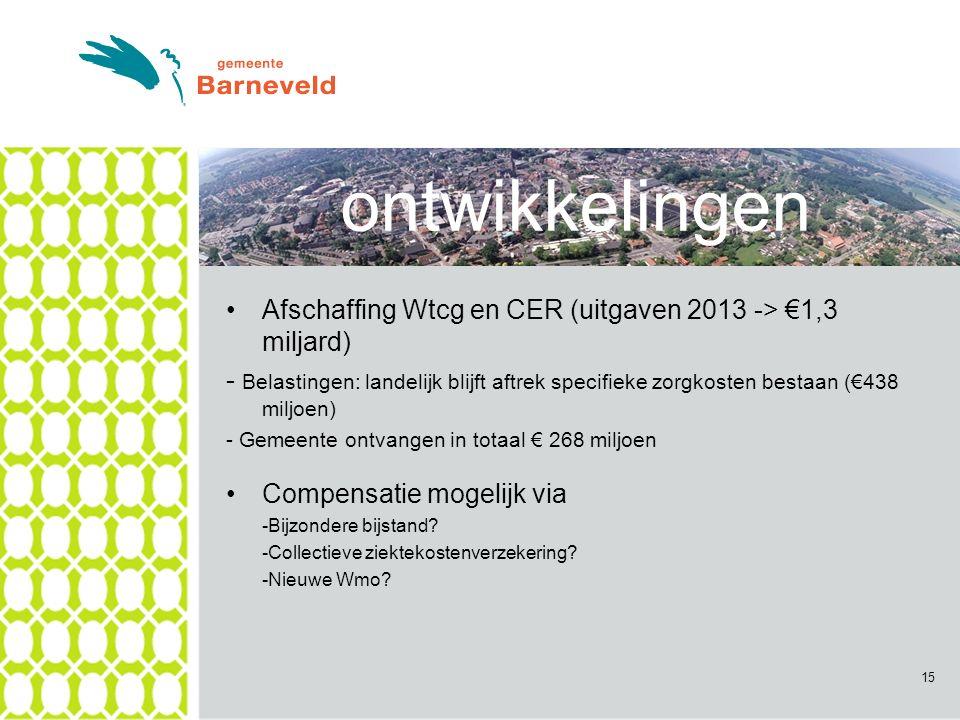 Afschaffing Wtcg en CER (uitgaven 2013 -> €1,3 miljard) - Belastingen: landelijk blijft aftrek specifieke zorgkosten bestaan (€438 miljoen) - Gemeente ontvangen in totaal € 268 miljoen Compensatie mogelijk via -Bijzondere bijstand.