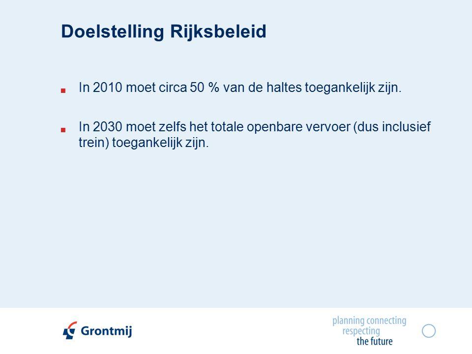 Doelstelling Rijksbeleid  In 2010 moet circa 50 % van de haltes toegankelijk zijn.
