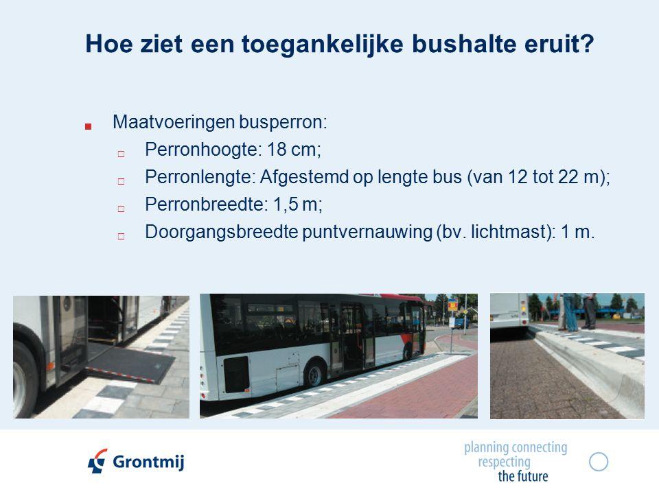  Maatvoeringen busperron:  Perronhoogte: 18 cm;  Perronlengte: Afgestemd op lengte bus (van 12 tot 22 m);  Perronbreedte: 1,5 m;  Doorgangsbreedte puntvernauwing (bv.