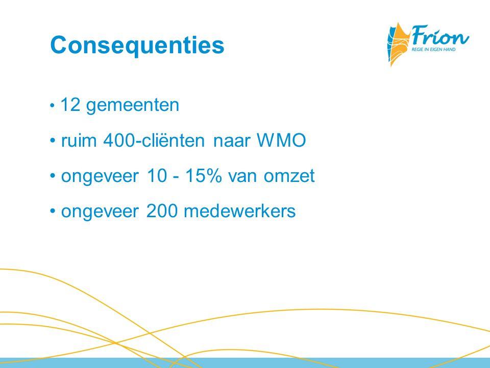 Consequenties 12 gemeenten ruim 400-cliënten naar WMO ongeveer 10 - 15% van omzet ongeveer 200 medewerkers