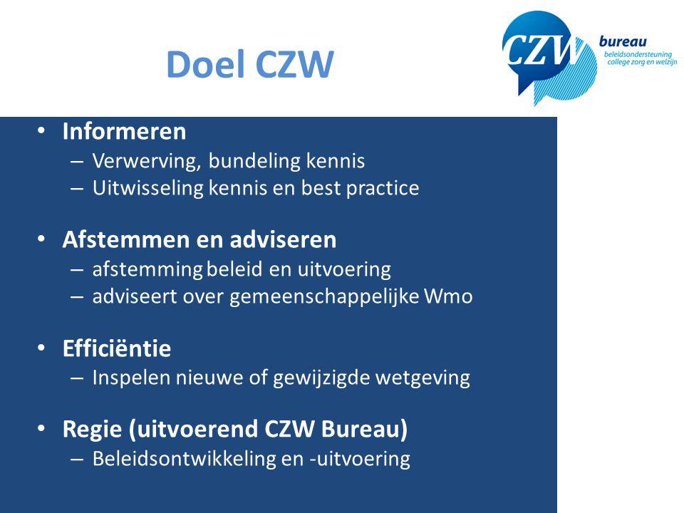 Doel CZW Informeren – Verwerving, bundeling kennis – Uitwisseling kennis en best practice Afstemmen en adviseren – afstemming beleid en uitvoering – adviseert over gemeenschappelijke Wmo Efficiëntie – Inspelen nieuwe of gewijzigde wetgeving Regie (uitvoerend CZW Bureau) – Beleidsontwikkeling en -uitvoering 3
