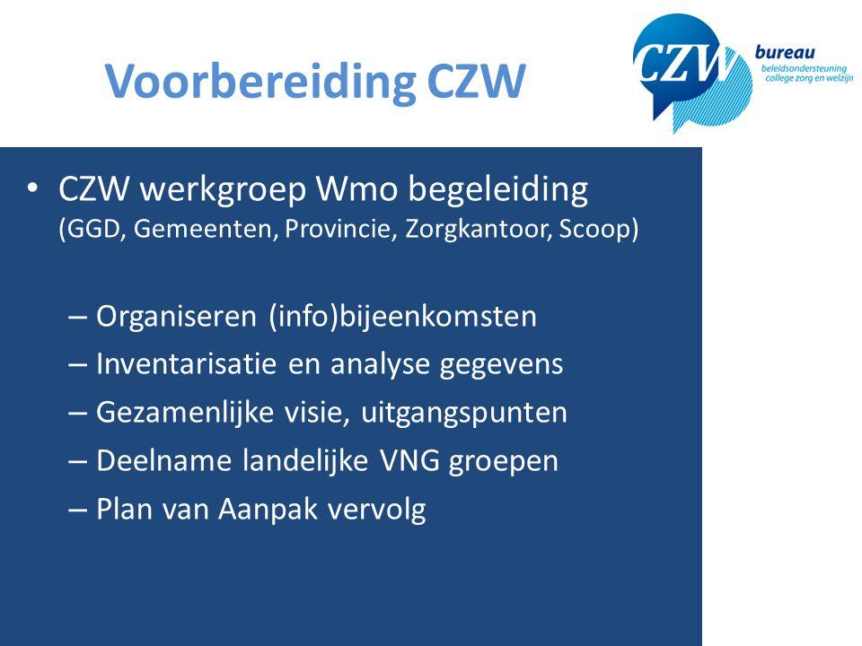 Voorbereiding CZW 4 CZW werkgroep Wmo begeleiding (GGD, Gemeenten, Provincie, Zorgkantoor, Scoop) – Organiseren (info)bijeenkomsten – Inventarisatie en analyse gegevens – Gezamenlijke visie, uitgangspunten – Deelname landelijke VNG groepen – Plan van Aanpak vervolg