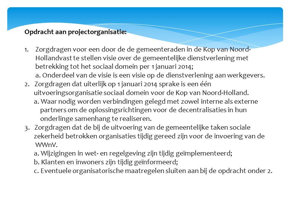 Opdracht aan projectorganisatie: 1.Zorgdragen voor een door de de gemeenteraden in de Kop van Noord- Hollandvast te stellen visie over de gemeentelijke dienstverlening met betrekking tot het sociaal domein per 1 januari 2014; a.