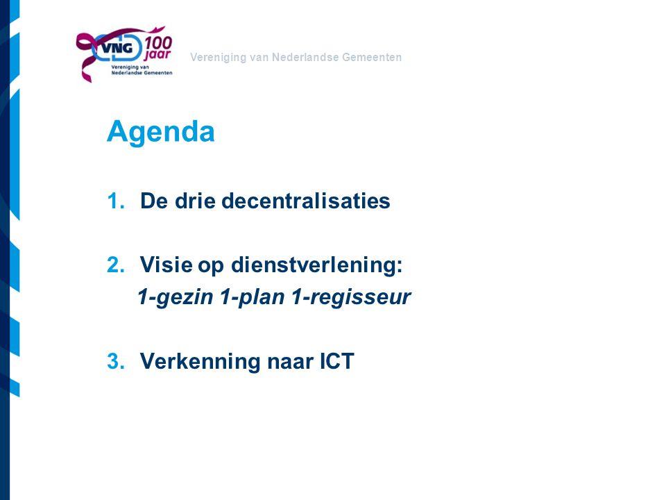 Vereniging van Nederlandse Gemeenten Agenda 1.De drie decentralisaties 2.Visie op dienstverlening: 1-gezin 1-plan 1-regisseur 3.Verkenning naar ICT