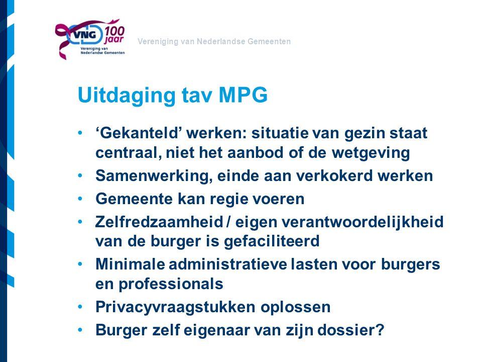 Vereniging van Nederlandse Gemeenten Uitdaging tav MPG 'Gekanteld' werken: situatie van gezin staat centraal, niet het aanbod of de wetgeving Samenwer