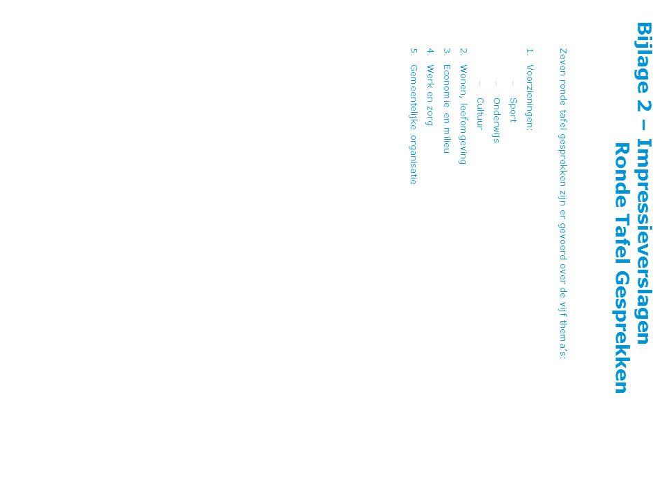 Bijlage 2 – Impressieverslagen Ronde Tafel Gesprekken Zeven ronde tafel gesprekken zijn er gevoerd over de vijf thema's: 1.Voorzieningen: – Sport – Onderwijs – Cultuur 2.Wonen, leefomgeving 3.Economie en milieu 4.Werk en zorg 5.Gemeentelijke organisatie