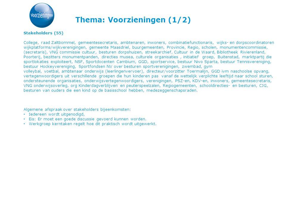 Thema: Voorzieningen (1/2) Stakeholders (55) College, raad Zaltbommel, gemeentesecretaris, ambtenaren, inwoners, combinatiefunctionaris, wijks- en dor