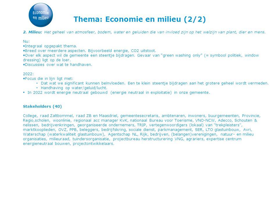 Thema: Economie en milieu (2/2) 2. Milieu: Het geheel van atmosfeer, bodem, water en geluiden die van invloed zijn op het welzijn van plant, dier en m